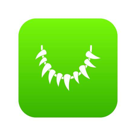 Tooth necklace icon green vector