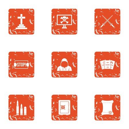 Conjunto de iconos de destrucción, estilo grunge