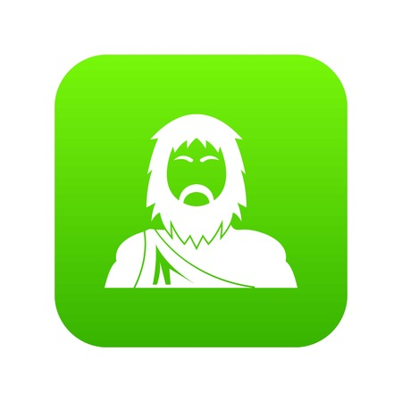 Neanderthal icon green vector