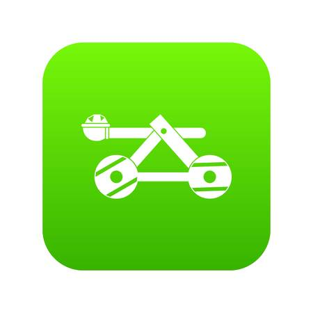 Ancient wooden catapult icon digital green