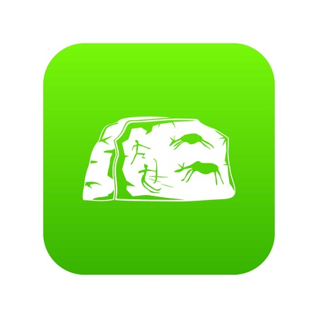Cave painting icon green vector