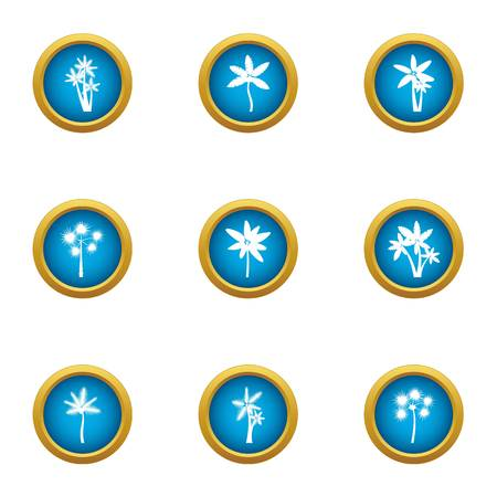 Earth flower icons set. Flat set of 9 earth flower vector icons for web isolated on white background