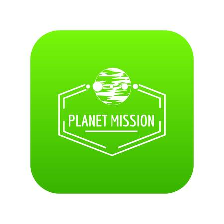 Planeta misión icono vector verde