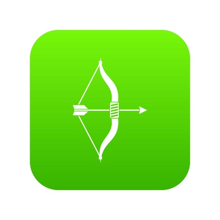 Bow and arrow icon digital green for any design isolated on white vector illustration