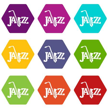 Saxophone icons set 9 vector