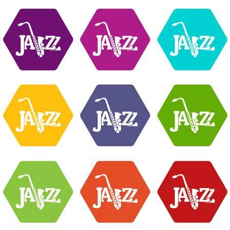 Saxophone icons set 9 vector