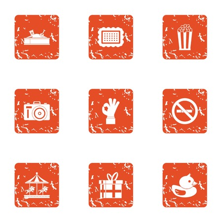 Great kid icons set. Grunge set of 9 great kid vector icons for web isolated on white background