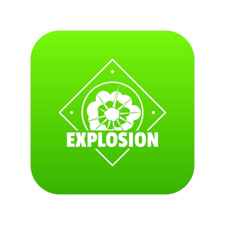 Explosion icon green vector