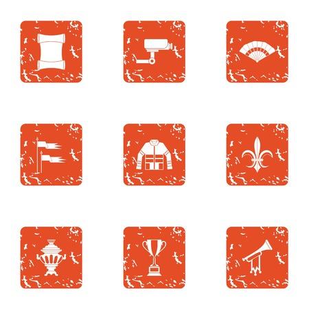Supervision icons set, grunge style