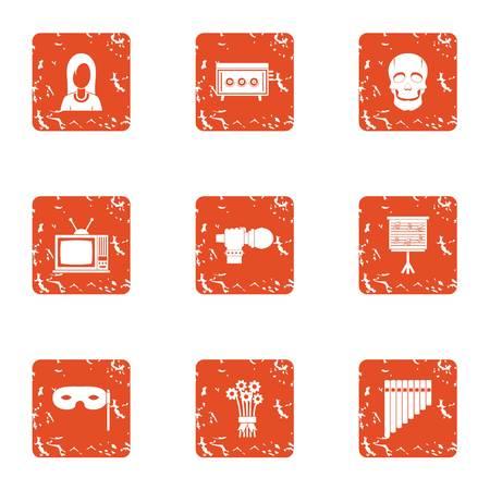 Screen performance icons set. Grunge set of 9 screen performance vector icons for web isolated on white background Illustration
