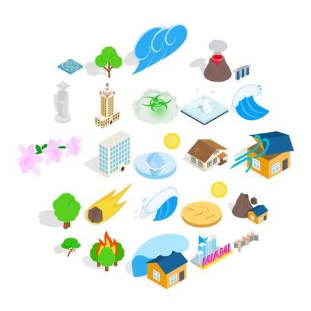 Elements icons set, cartoon style