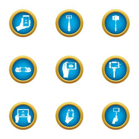 Pictures of yourself icons set, flat style