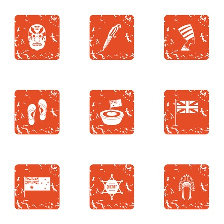 Conquest of america icons set. Grunge set of 9 conquest of america vector icons for web isolated on white background
