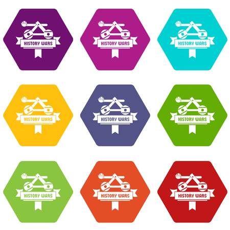 Catapult icons set 9 vector