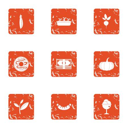 Development of farmer icons set. Grunge set of 9 development of farmer vector icons for web isolated on white background