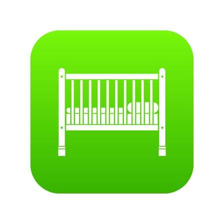 Lettino per bambini icona verde digitale per qualsiasi design isolato su bianco illustrazione vettoriale