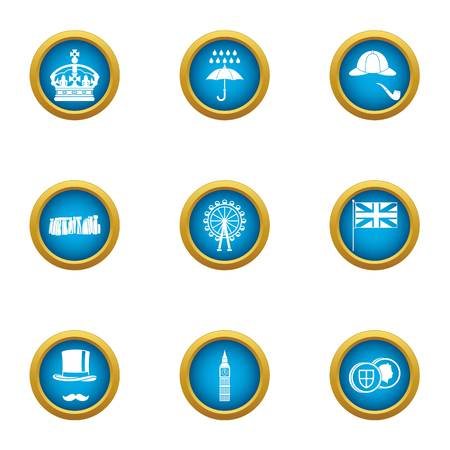 Island of great Britain icons set. Flat set of 9 island of great britain vector icons for web isolated on white background Stock Vector - 105613341