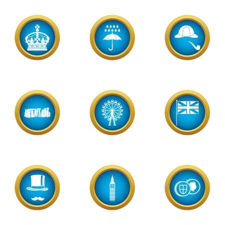 Island of great Britain icons set. Flat set of 9 island of great britain vector icons for web isolated on white background Çizim