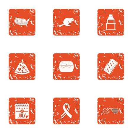 Honor icons set, grunge style Illustration