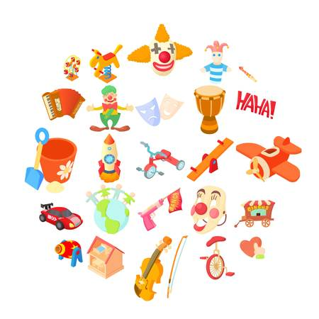 Clown icons set. Cartoon set of 25 clown vector icons for web isolated on white background Standard-Bild - 105613350