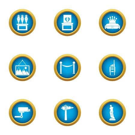 Museum observation icons set, flat style