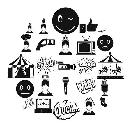 Emotion icons set. Simple set of 25 emotion vector icons for web isolated on white background