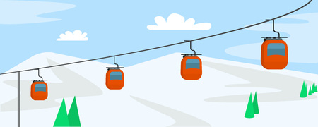 Mountain ski cabine concept background. Flat illustration of mountain ski cabine vector concept background for web design