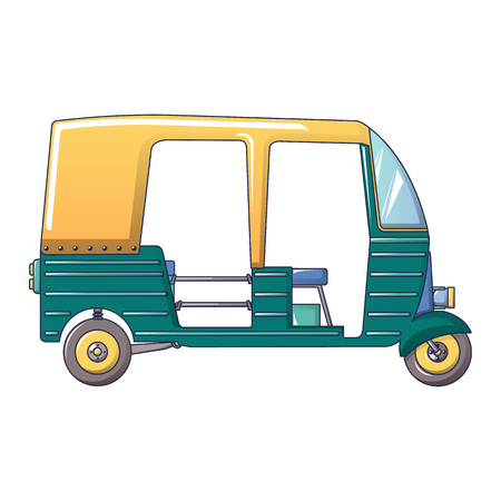 Tuk tuk taxi icon, cartoon style