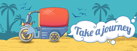 Take a thai journey concept banner, cartoon style Illustration