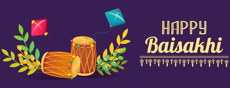 Happy baisakhi drums concept banner, cartoon style