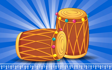 Indian drums concept banner. Cartoon illustration of indian drums vector concept banner for web design