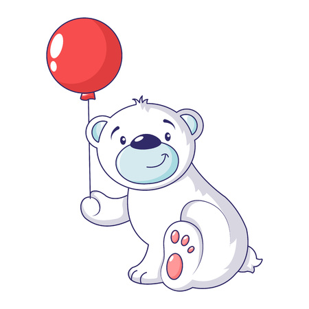 Bear with air ballon icon. Cartoon of bear with air ballon vector icon for web design isolated on white background Vector Illustration