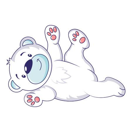 Jugar icono de oso polar, estilo de dibujos animados