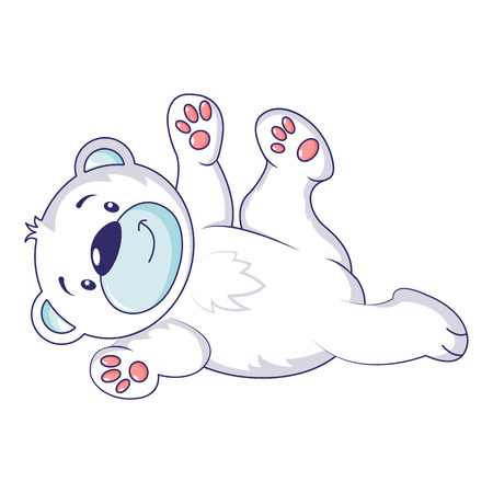 Playing polar bear icon, cartoon style Çizim