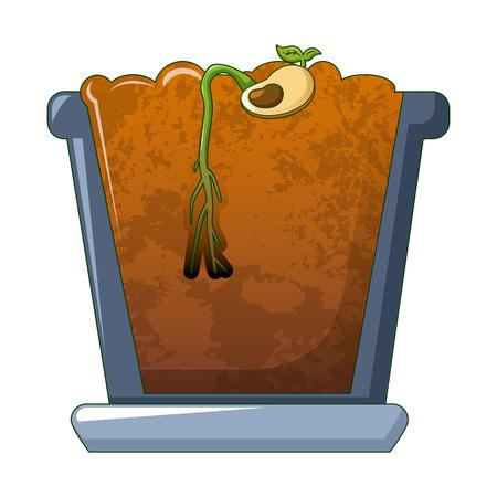 Bean in ground germinated icon. Cartoon of bean in ground germinated vector icon for web design isolated on white background