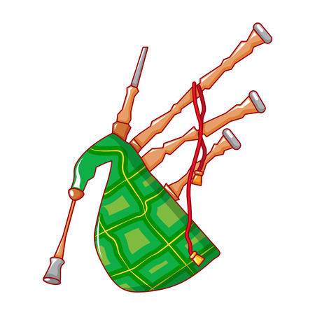 Scootish bagpipe icon, cartoon style