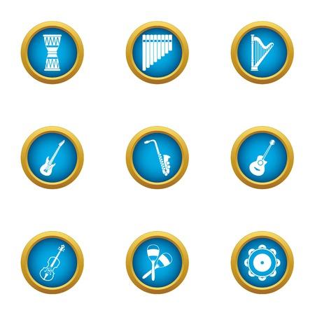 Harp icons set. Flat set of 9 harp vector icons for web isolated on white background