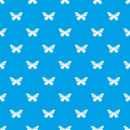 Butterfly with stripes on wings pattern vector seamless blue repeat for any use Ilustração