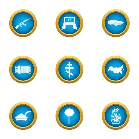 USSR icons set. Flat set of 9 ussr vector icons for web isolated on white background