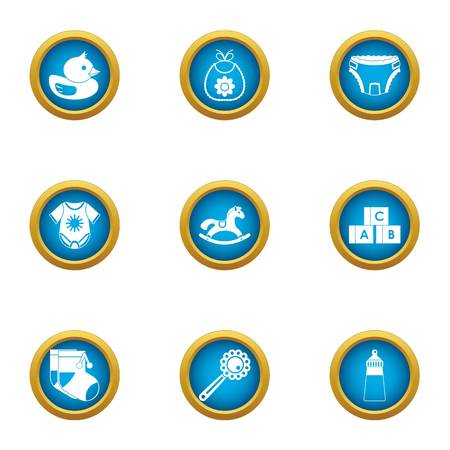 Time of growth icons set. Flat set of 9 time of growth vector icons for web isolated on white background
