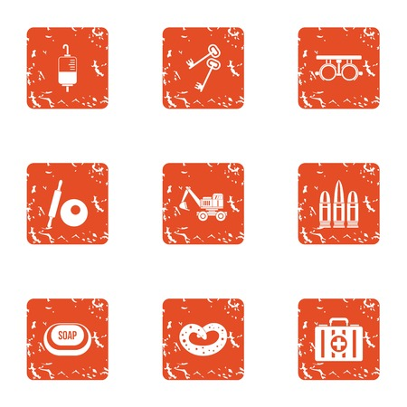 Strengthening icons set. Grunge set of 9 strengthening vector icons for web isolated on white background Stock Photo