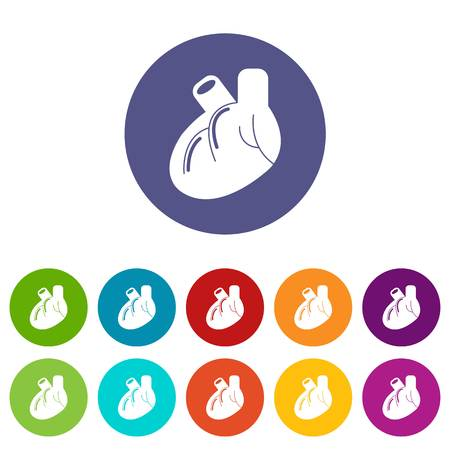 Heart organ icons color set vector for any web design on white background 스톡 콘텐츠