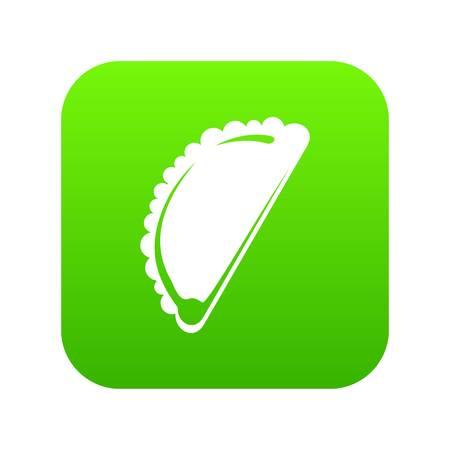 Cheburek icon green vector isolated on white background Stock Photo