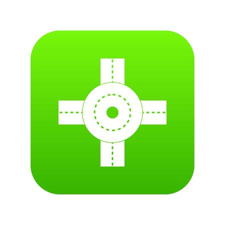 Big road junction icon digital green for any design isolated on white vector illustration