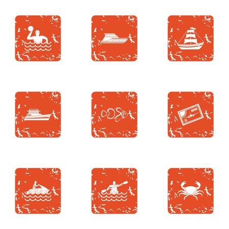 Water spectacle icons set. Grunge set of 9 water spectacle vector icons for web isolated on white background