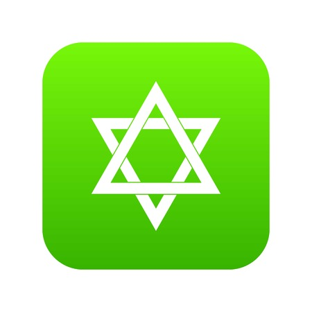 Star of David icon digital green for any design isolated on white vector illustration