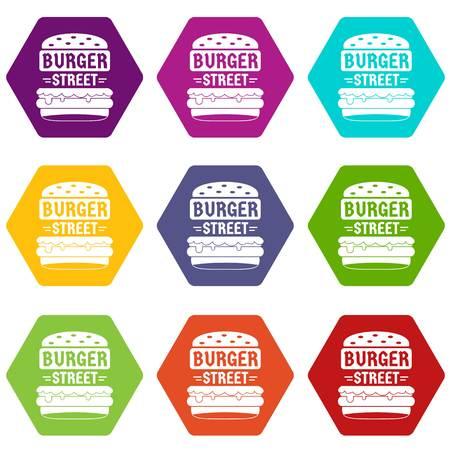 Big street burger icons 9 set coloful isolated on white for web Çizim