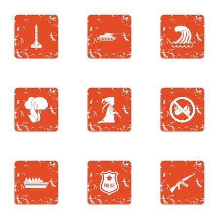 Dangerous work icons set. Grunge set of 9 dangerous work vector icons for web isolated on white background Illustration