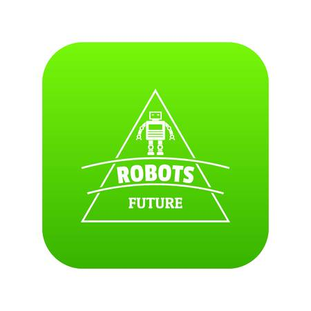 Robot future icon green vector isolated on white background