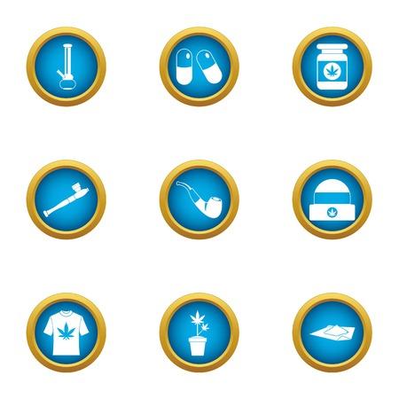 Smoking mixture icons set. Flat set of 9 smoking mixture vector icons for web isolated on white background Illustration